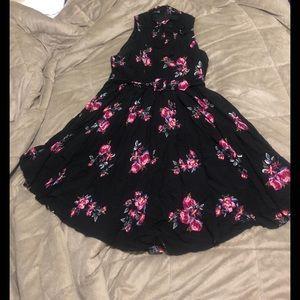 Torrid Black Floral High Neck Midi Swing dress
